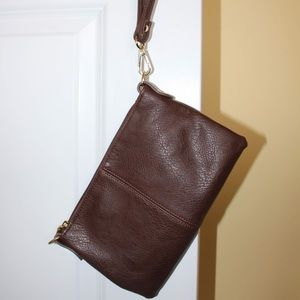 Charming Charlie Brown Leather Wristlet